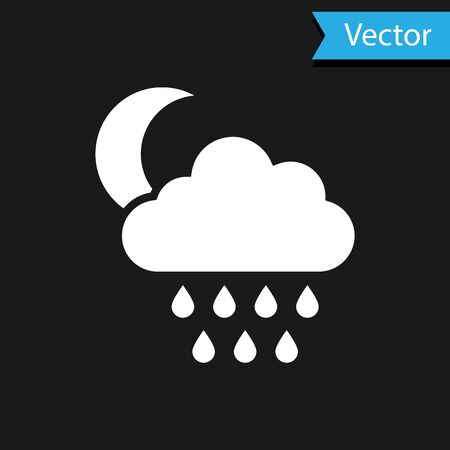 White Cloud with rain and moon icon isolated on black background. Rain cloud precipitation with rain drops. Vector Illustration