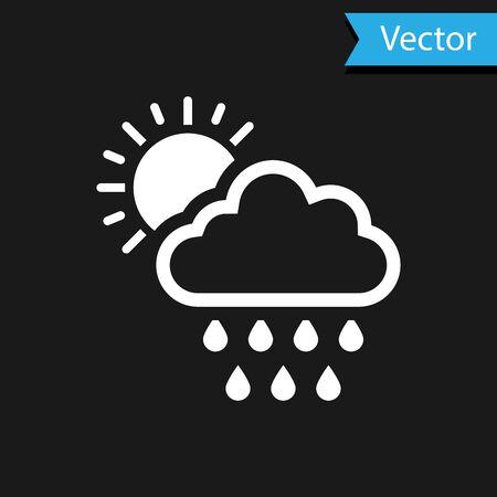 White Cloud with rain and sun icon isolated on black background. Rain cloud precipitation with rain drops. Vector Illustration