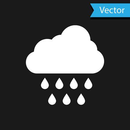 White Cloud with rain icon isolated on black background. Rain cloud precipitation with rain drops. Vector Illustration Иллюстрация