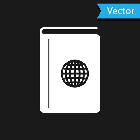White Cover book travel guide icon isolated on black background. Vector Illustration
