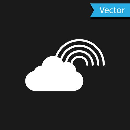 White Rainbow with clouds icon isolated on black background. Vector Illustration