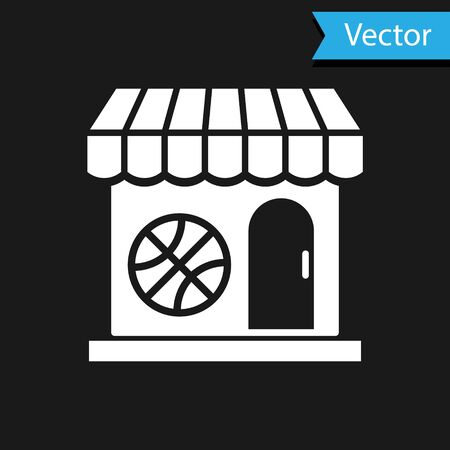 White Sports shop and basketball ball icon isolated on black background. Sport store. Vector Illustration