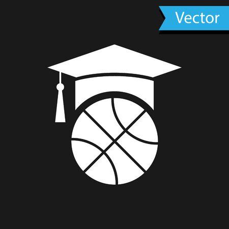 White Basketball training icon isolated on black background. Vector Illustration Иллюстрация