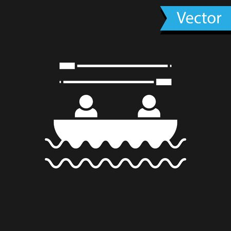 White Boat with oars and people icon isolated on black background. Water sports, extreme sports, holiday, vacation, team building. Vector Illustration
