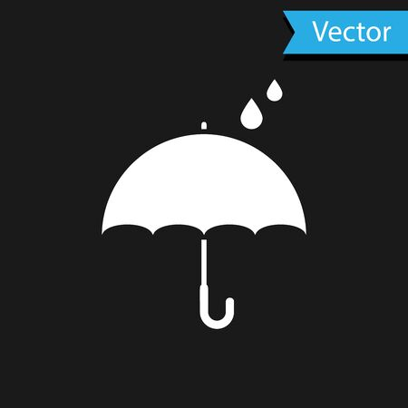 White Umbrella and rain drops icon isolated on black background. Waterproof icon. Protection, safety, security concept. Water resistant symbol. Vector Illustration