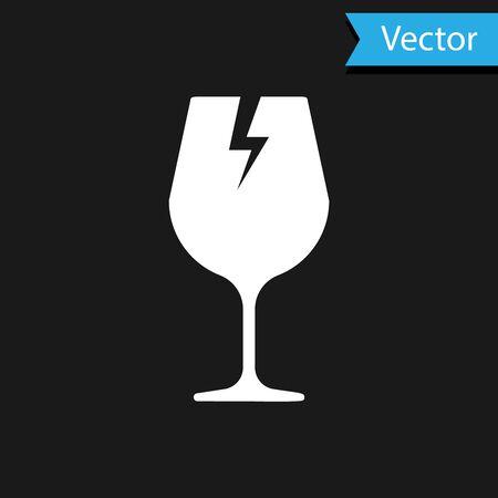 White Fragile broken glass symbol for delivery boxes icon isolated on black background. Vector Illustration Standard-Bild - 133594521