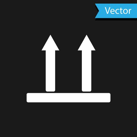 White This side up icon isolated on black background. Two arrows indicating top side of packaging. Cargo handled so these arrows always point up. Vector Illustration
