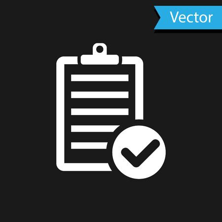 White Verification of delivery list clipboard and pen icon isolated on black background. Vector Illustration