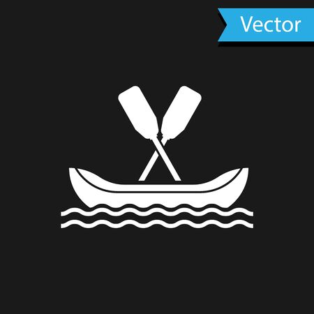White Rafting boat icon isolated on black background. Kayak with paddles. Water sports, extreme sports, holiday, vacation, team building. Vector Illustration Stock Illustratie