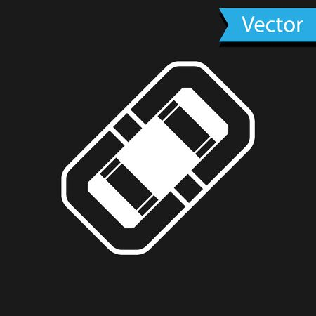 White Rafting boat icon isolated on black background. Inflatable boat. Water sports, extreme sports, holiday, vacation, team building. Vector Illustration