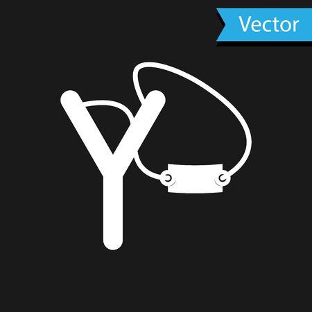 White Slingshot icon isolated on black background. Vector Illustration