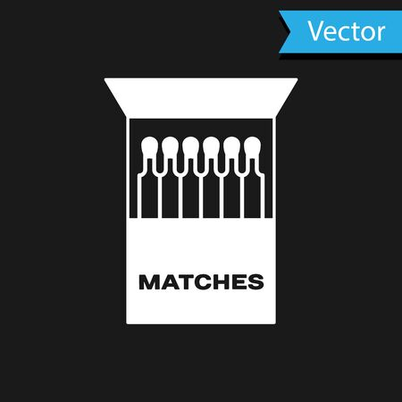 White Open matchbox and matches icon isolated on black background. Vector Illustration Ilustração