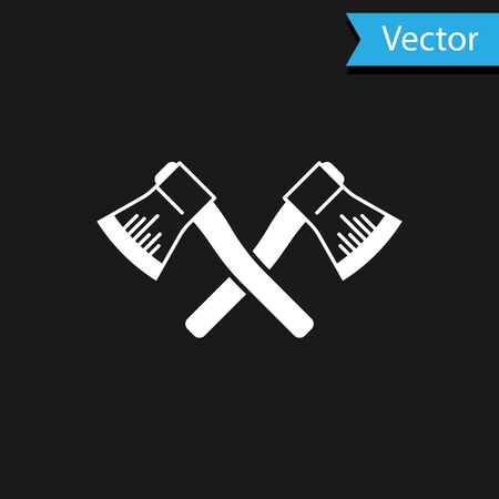 White Crossed wooden axe icon isolated on black background. Lumberjack axe. Vector Illustration