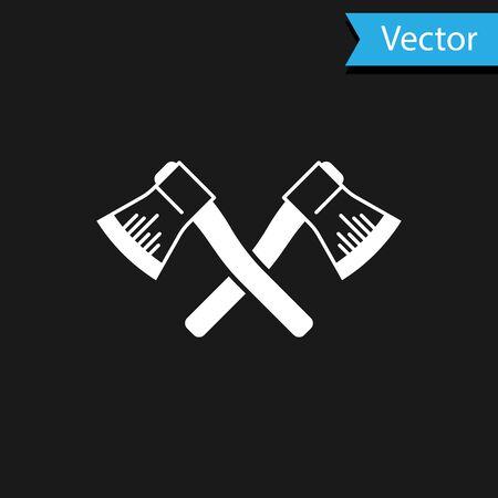 White Crossed wooden axe icon isolated on black background. Lumberjack axe. Vector Illustration