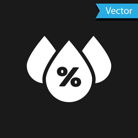 White Water drop percentage icon isolated on black background. Humidity analysis. Vector Illustration