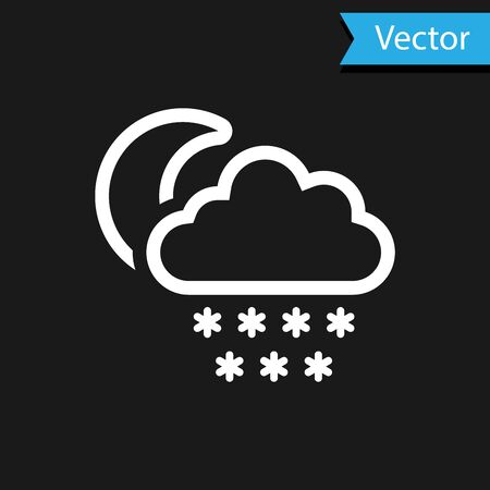 White Cloud with snow and moon icon isolated on black background. Cloud with snowflakes. Single weather icon. Snowing sign. Vector Illustration Иллюстрация