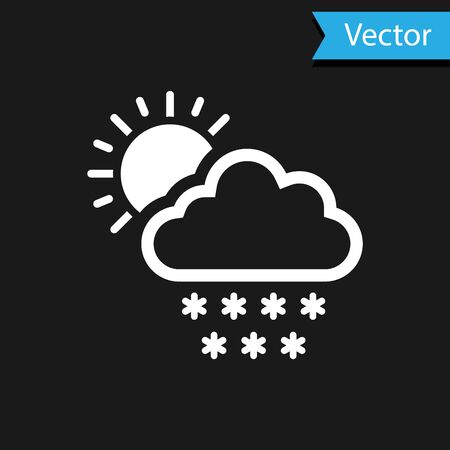 White Cloud with snow and sun icon isolated on black background. Cloud with snowflakes. Single weather icon. Snowing sign. Vector Illustration