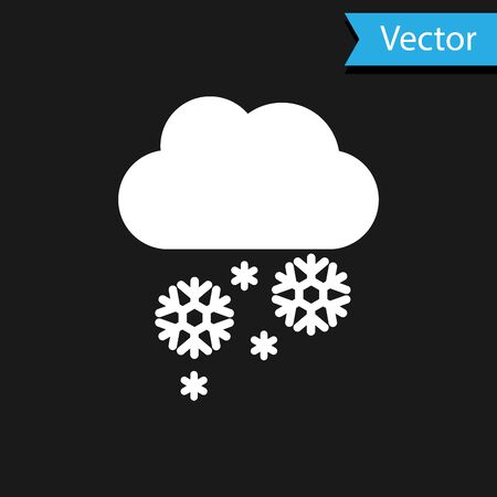 White Cloud with snow icon isolated on black background. Cloud with snowflakes. Single weather icon. Snowing sign. Vector Illustration