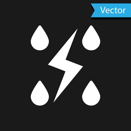White Storm icon isolated on black background. Drop and lightning sign. Weather icon of storm. Vector Illustration