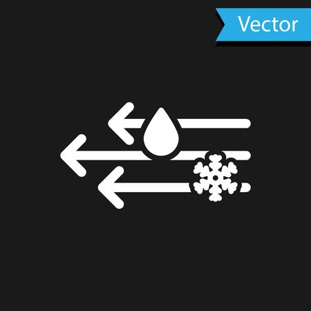 White Wind and rain with snow icon isolated on black background. Windy weather. Vector Illustration Иллюстрация