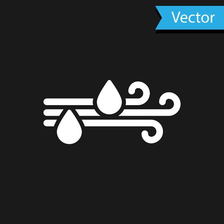 White Wind and rain icon isolated on black background. Windy weather. Vector Illustration