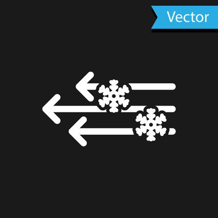 White Wind and snow icon isolated on black background. Windy weather. Vector Illustration Иллюстрация