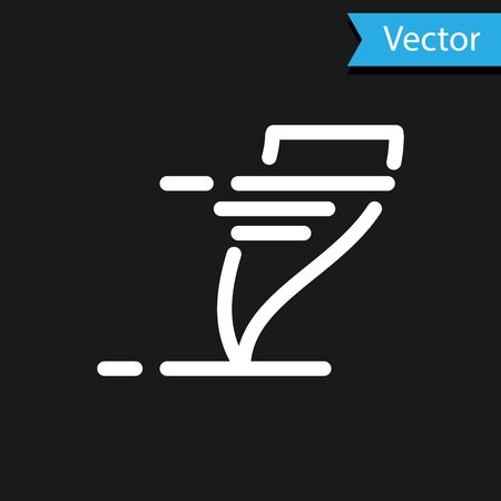 White Tornado icon isolated on black background. Cyclone, whirlwind, storm funnel, hurricane wind or twister weather icon. Vector Illustration Foto de archivo - 133594651