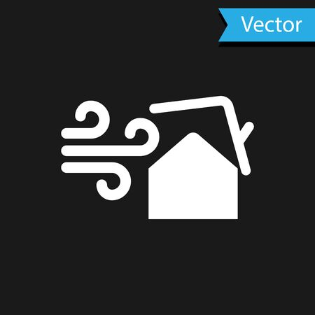 White Tornado swirl damages house roof icon isolated on black background. Cyclone, whirlwind, storm funnel, hurricane wind icon. Vector Illustration Foto de archivo - 133594653