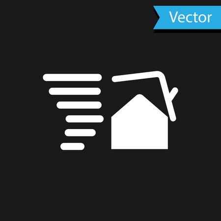 White Tornado swirl damages house roof icon isolated on black background. Cyclone, whirlwind, storm funnel, hurricane wind icon. Vector Illustration Foto de archivo - 133594656