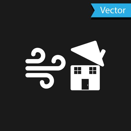 White Tornado swirl damages house roof icon isolated on black background. Cyclone, whirlwind, storm funnel, hurricane wind icon. Vector Illustration Foto de archivo - 133594654