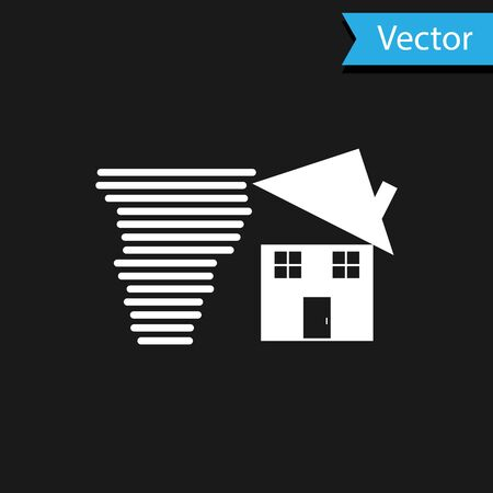 White Tornado swirl damages house roof icon isolated on black background. Cyclone, whirlwind, storm funnel, hurricane wind icon. Vector Illustration Foto de archivo - 133594655