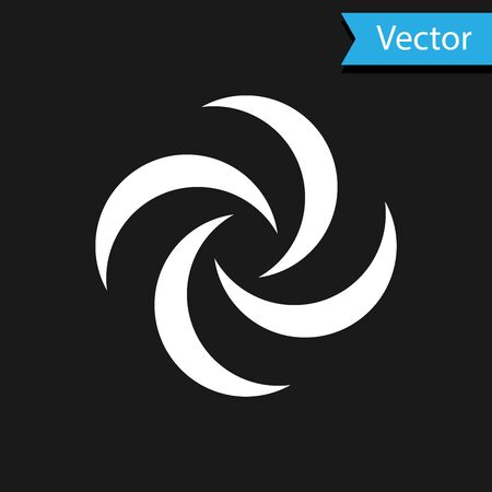 White Tornado icon isolated on black background. Cyclone, whirlwind, storm funnel, hurricane wind or twister weather icon. Vector Illustration Foto de archivo - 133590978