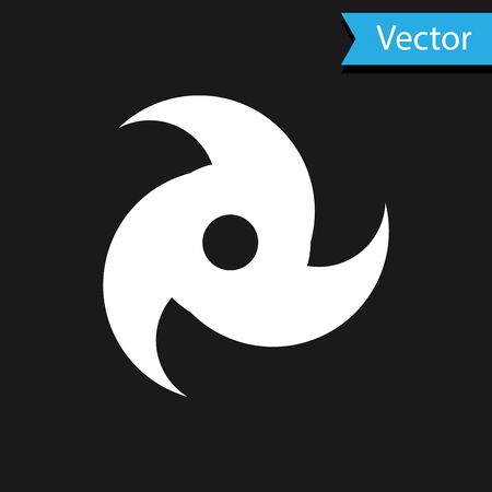 White Tornado icon isolated on black background. Cyclone, whirlwind, storm funnel, hurricane wind or twister weather icon. Vector Illustration Foto de archivo - 133590980