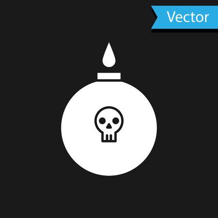 White Bomb ready to explode icon isolated on black background. Vector Illustration Ilustração