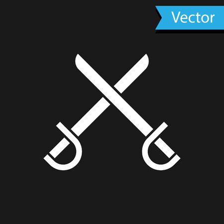 White Crossed pirate swords icon isolated on black background. Sabre sign. Vector Illustration