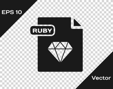 Grey RUBY file document. Download ruby button icon isolated on transparent background. RUBY file symbol. Vector Illustration Ilustrace