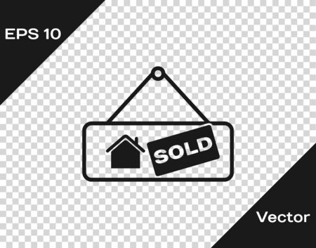 Grey Hanging sign with text Sold icon isolated on transparent background. Sold sticker. Sold signboard. Vector Illustration