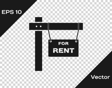 Grey Hanging sign with text For Rent icon isolated on transparent background. Signboard with text For Rent. Vector Illustration Illusztráció