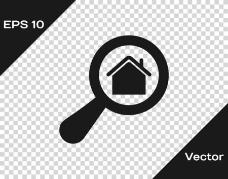 Grey Search house icon isolated on transparent background. Real estate symbol of a house under magnifying glass. Vector Illustration Illusztráció