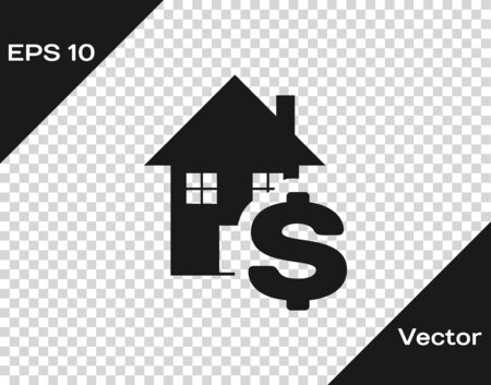 Grey House with dollar symbol icon isolated on transparent background. Home and money. Real estate concept. Vector Illustration Illusztráció