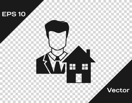 Grey Realtor icon isolated on transparent background. Buying house. Vector Illustration