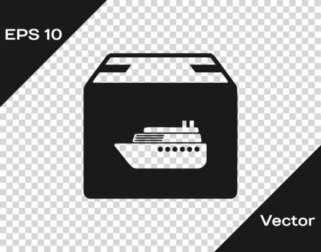 Grey Cargo ship with boxes delivery service icon isolated on transparent background. Delivery, transportation. Freighter with parcels, boxes, goods. Vector Illustration Banque d'images - 133598888