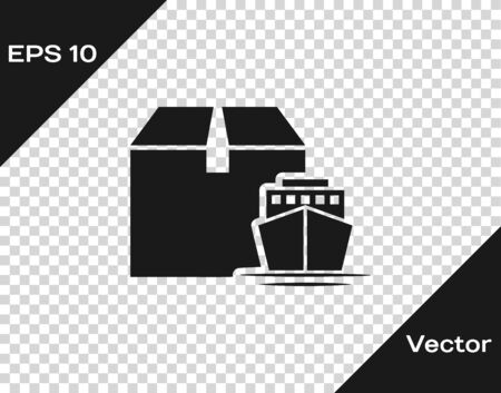 Grey Cargo ship with boxes delivery service icon isolated on transparent background. Delivery, transportation. Freighter with parcels, boxes, goods. Vector Illustration Banque d'images - 133598889