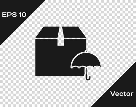 Grey Delivery package with umbrella symbol icon isolated on transparent background. Parcel cardboard box with umbrella sign. Logistic and delivery. Vector Illustration