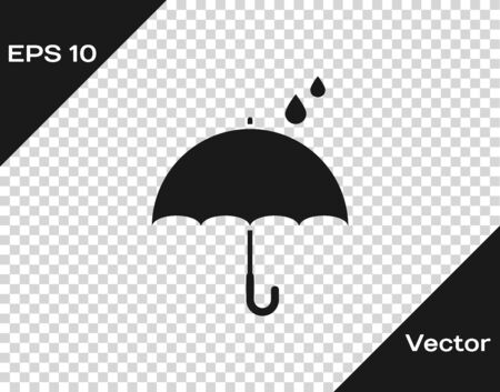 Grey Umbrella and rain drops icon isolated on transparent background. Waterproof icon. Protection, safety, security concept. Water resistant symbol. Vector Illustration