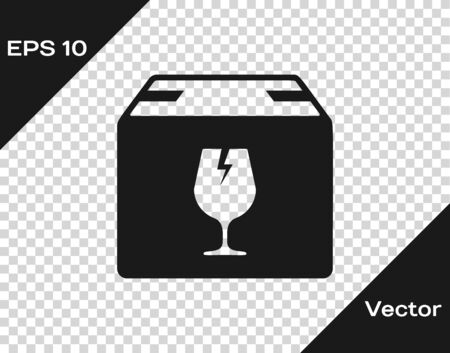 Grey Delivery package box with fragile content symbol of broken glass icon isolated on transparent background. Box, package, parcel sign. Vector Illustration Standard-Bild - 133598910