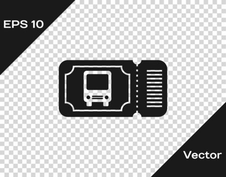 Grey Bus ticket icon isolated on transparent background. Public transport ticket. Vector Illustration