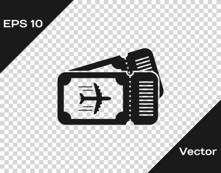 Grey Airline ticket icon isolated on transparent background. Plane ticket. Vector Illustration Иллюстрация