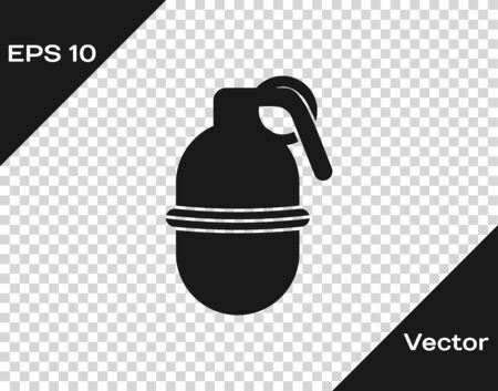 Grey Hand grenade icon isolated on transparent background. Bomb explosion. Vector Illustration