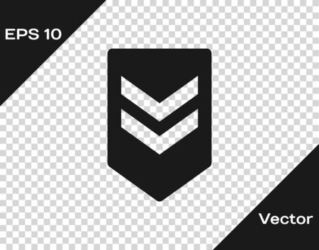 Grey Chevron icon isolated on transparent background. Military badge sign. Vector Illustration